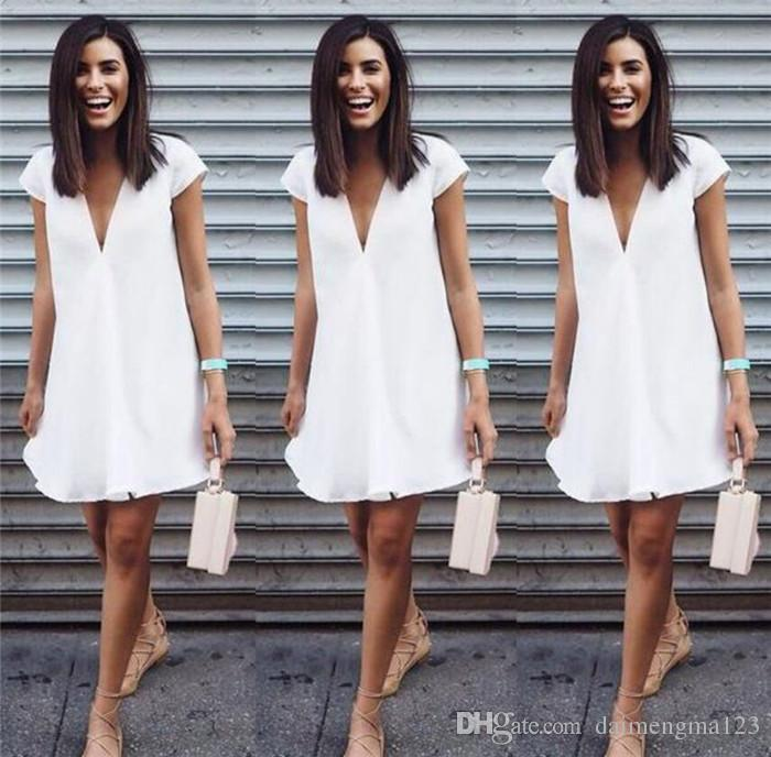 Summer women dresses sexy V-neck Casual Short sleeve mini Shirt Dress mini dress M168