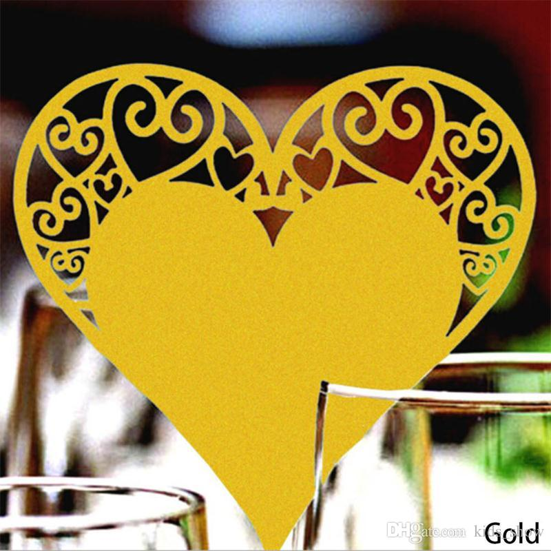 Wedding Table Decoration Place Cards Laser Cut Heart shape Floral Wine Glass Place Cards For Wedding Party Decoration