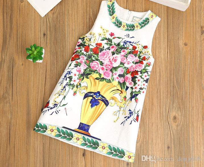 2018 Girls White Berry Dresses Kids Dress Children Spring Flowers Sleeveless Dress 5 Patterns Available