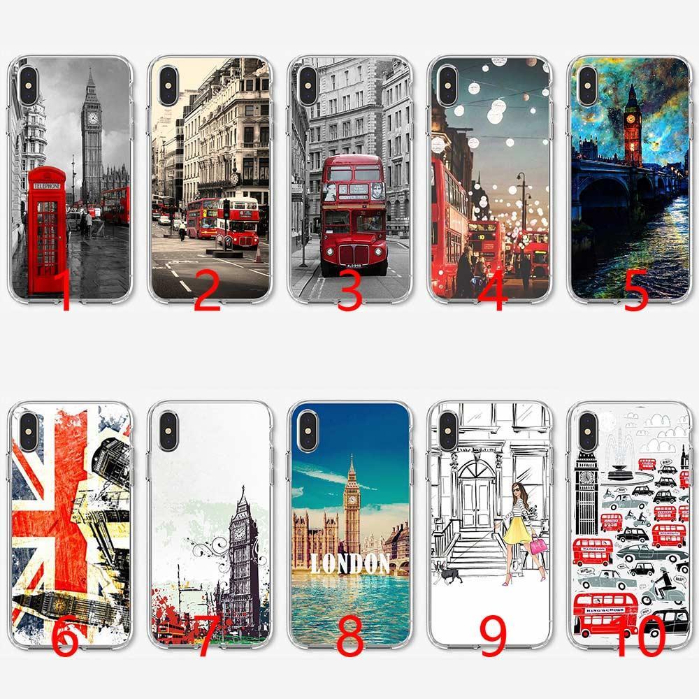 06b5ce11fb2 Hacer Fundas De Movil Londres Estilo Big Ben Caja De Teléfono Bandera Suave  Silicona TPU Caja Del Teléfono Para IPhone 5 5S SE 6 6S 7 8 Más X XR XS Max  ...
