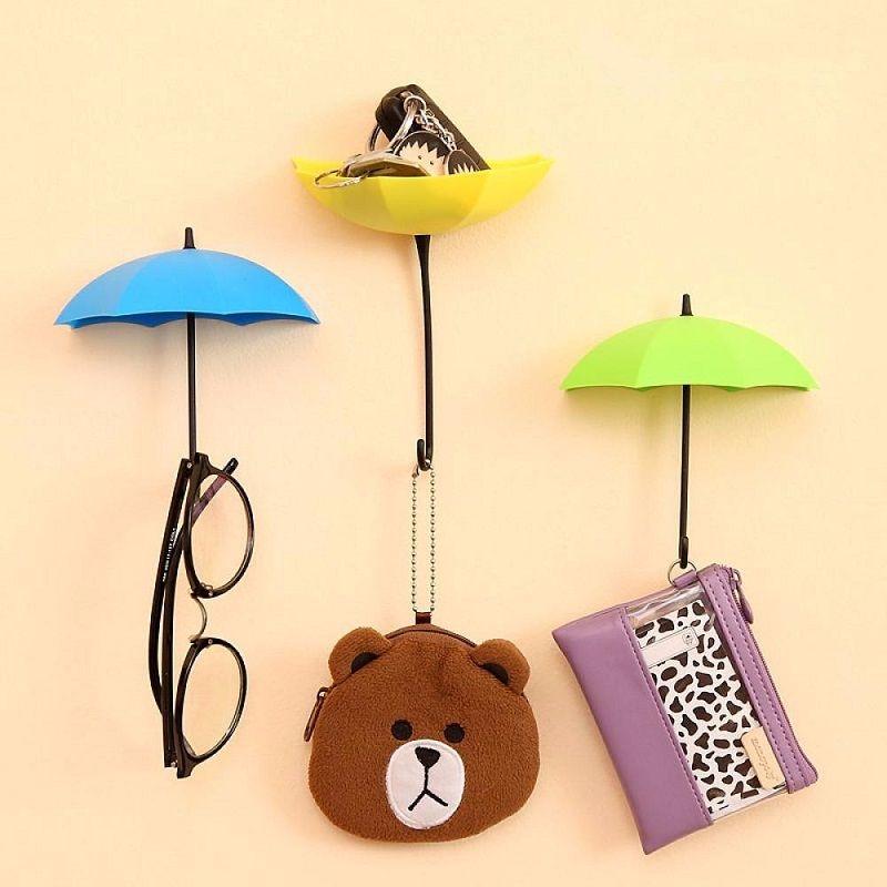 New Hot one set Colorful Umbrella Wall Hook Key Hair Pin Holder Organizer Decorative Rack