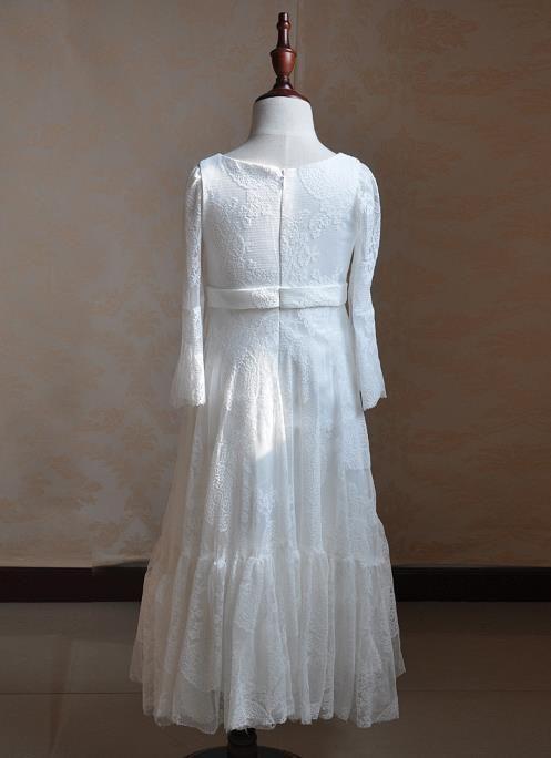 Robes de fille de plage de fleur boho plage robes de fille de dentelle blanche ivoire en mousseline de soie robes de fille pour petite fille robe à manches longues formel enfants
