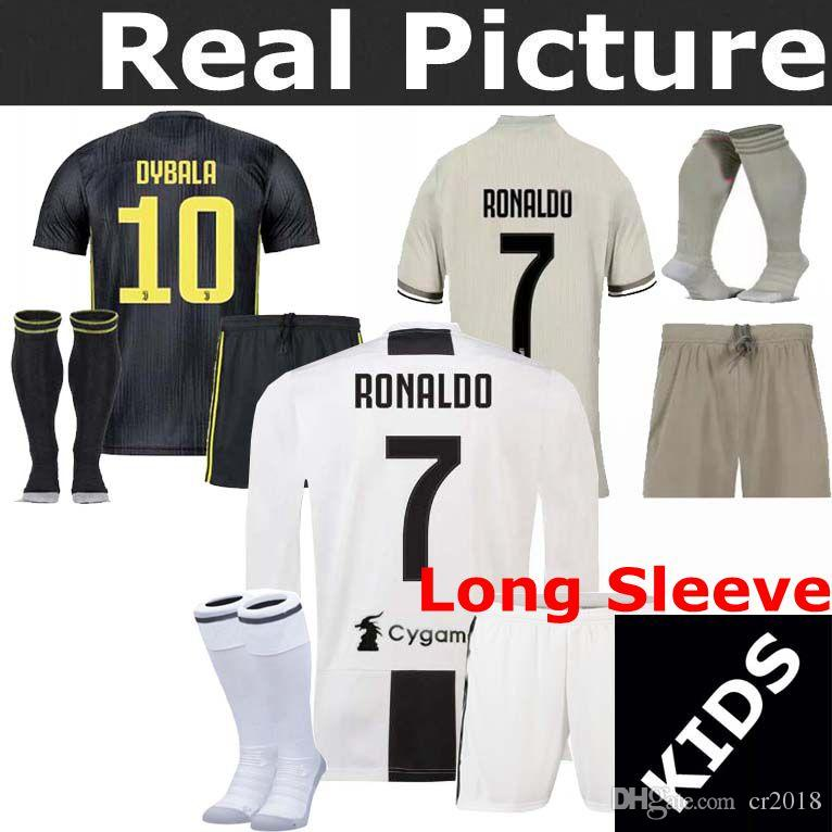 new arrival a75bc 46fac TOp 18-19 Juventus jersey RONALDO 2018 DYBALA home away third girl kids  long sleeve child youth MANDZUKIC BUFFON PJANIC football uniform