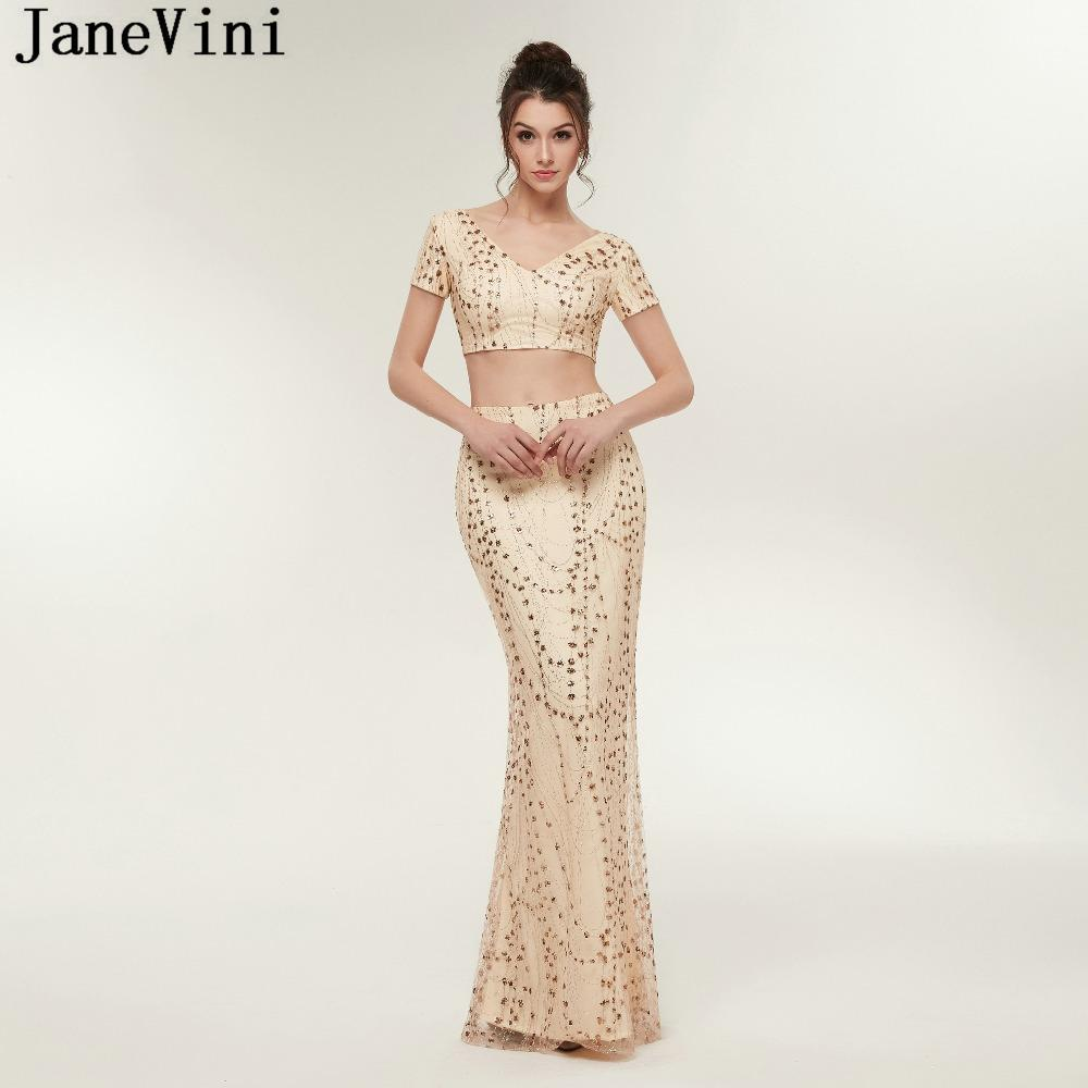 Wholesale Champagne Gold Two Piece Bridesmaid Dresses V Neck Sequined Short  Sleeve Floor Length African Mermaid Formal Prom Gowns Online with   332.9 Piece ... 928d84ab6aab