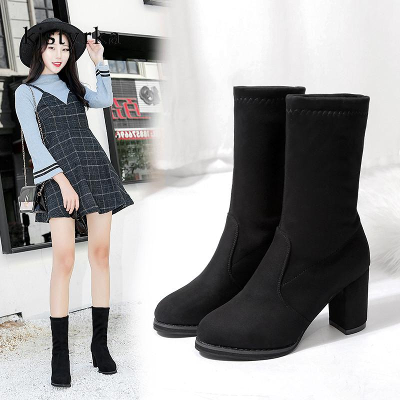 ce4793a1 Kjstyrka Botas Botines Mujer 2018 Winter Women Boots Fashion Casual High  Heels Mid Calf Boots Ladies Non Slip Bota Feminina Mens Boots Thigh High  Boots From ...