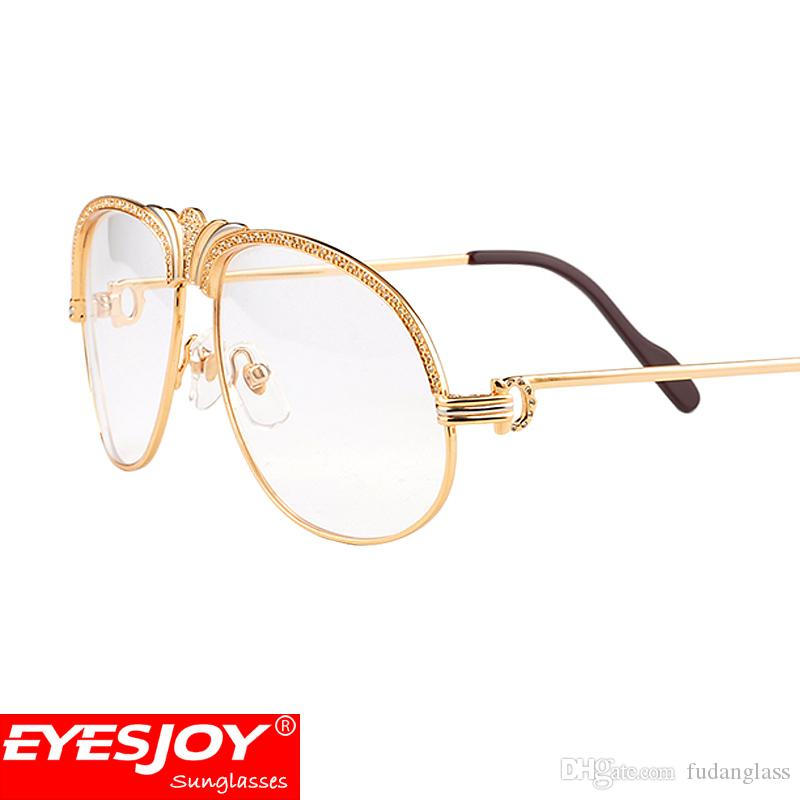 Luxury Metal Frames Reading Glasses Diamonds Gold Glasses Myopia ...