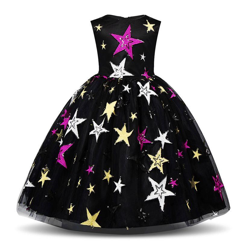 fa648a2995df4 Acheter 4 10 T Enfants Robes De Noël Pour Fille Star Graffiti Costume  Enfants D été Robe Sans Manches Tulle Tutu École Maison Casual Wear De   34.14 Du ...