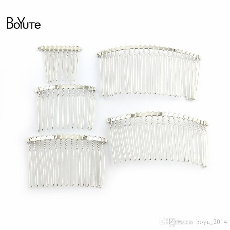 BoYuTe Vintage Hand Made Diy Wire Comb Metal Hair Comb Base Plated Women's Diy Hair Jewelry Accessories