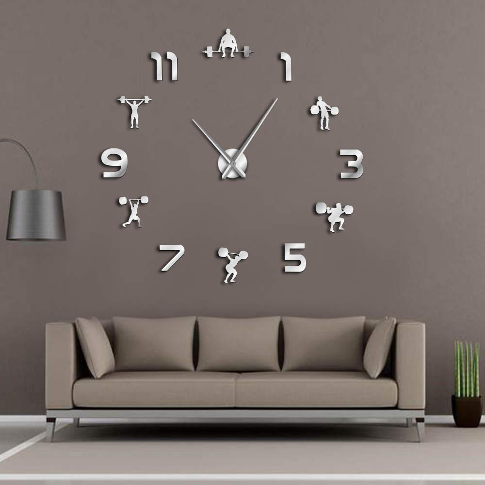 Weightlifting fitness room wall decor diy giant wall clock mirror