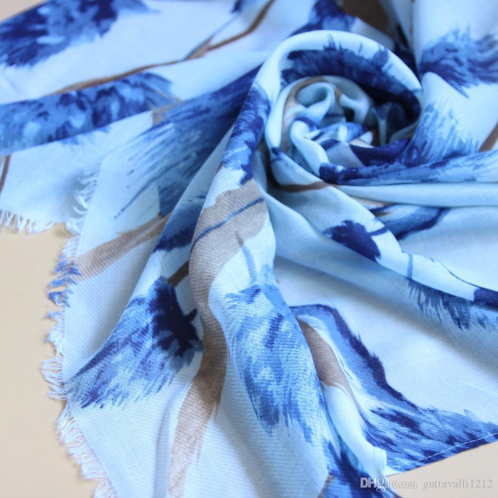 Guttavalli Women Blue Floral Long Fringes Shawl Vintage Pink Soft Chevron Scarf Winter Flowers Stripes Navy Charm Cotton Scarves