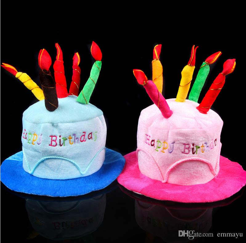2019 HAPPY BIRTHDAY CAKE PARTY HAT Plush Novelty Cap Candles Party Supplies Man Woman From Emmayu 895