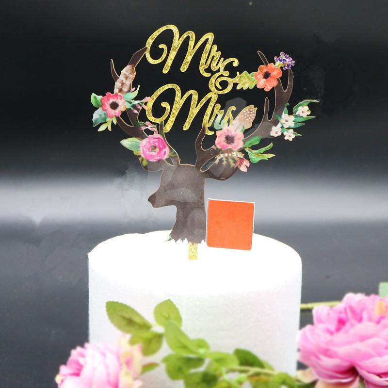 2019 Mr Mrs Antlers Wedding Cake Toppers Acrylic Color Printing Cake