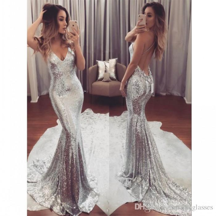 1ee11c5b4ea Sexy Silver Sequin Evening Dresses Long V Neck Cheap Party Gowns Backless  Sweep Train Formal Prom Dress For Women Chiffon Evening Dresses Uk Designer  Formal ...