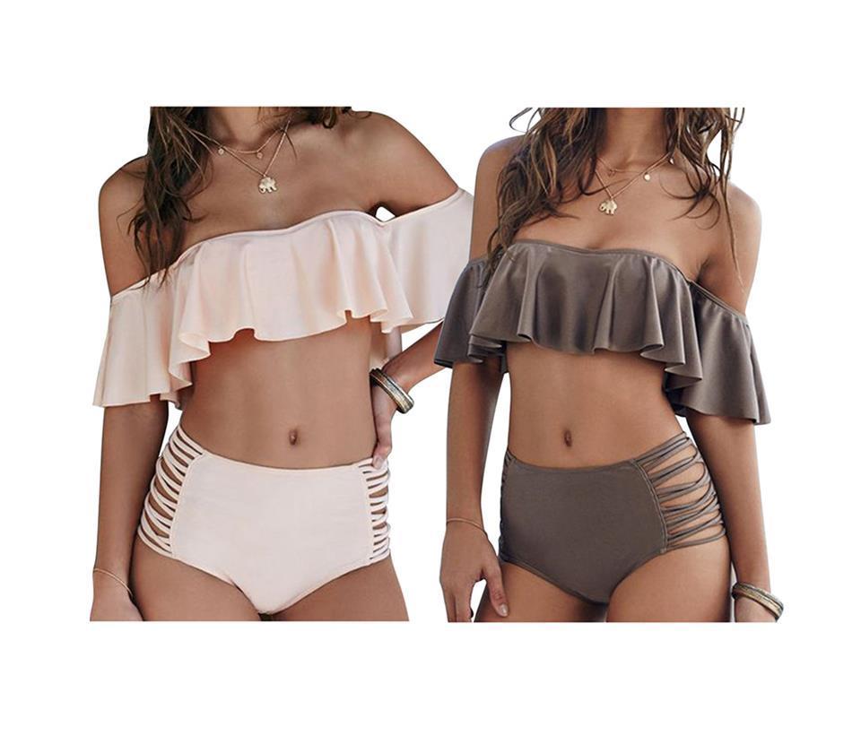 d696858eb095e Women s Sexy Off Shoulder Ruffle Two Piece Swimsuit High Waist ...