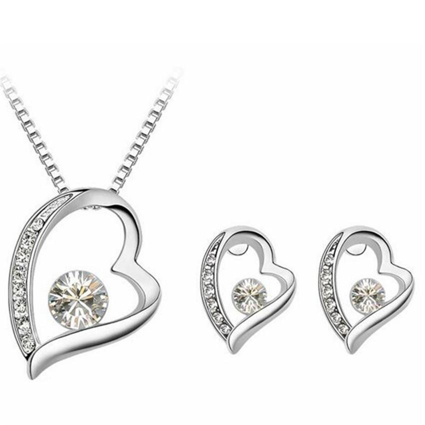 2ced87a52535 2019 High Quality Crystal Jewelry Sets Heart Pendant Necklace Earrings Jewellery  Made With Crystals From Swarovski Elements 4319 From Sbchf123