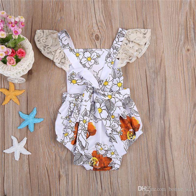 Neonate neonate Fiore arancione pagliaccetto tuta tuta Abiti estivi Neonata pagliaccetti Bella Kid Abbigliamento