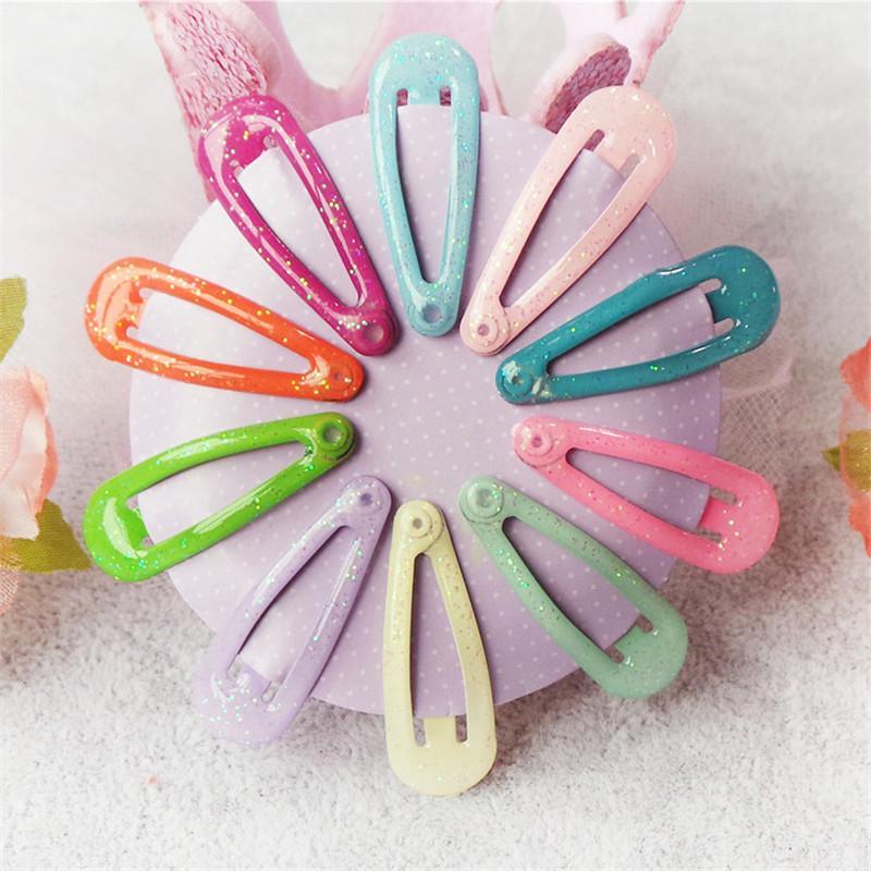 10 Teile / los Feste Candy Farbe Mädchen Haarspangen BB Clips Snap Band Haarnadeln Bunte Kinder 10 Farbe Blinkt Haar Zubehör
