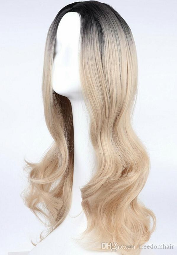 Synthetic Wigs For White Or Black Female Full Wig Black Golden Ombre Color Long Wavy Heat Resistant Fiber Brazilian Hair None Lace Wig