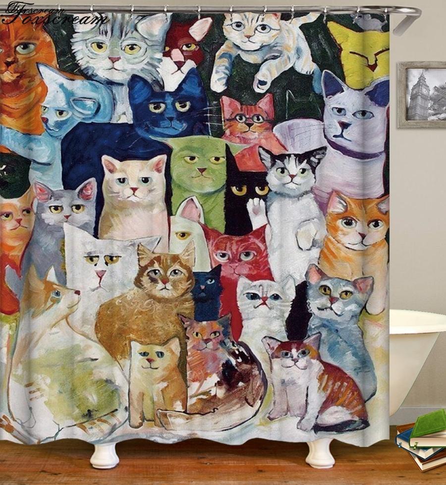 2018 Cat Shower Curtains Bathroom Shower Curtain 3d Fabric Curtain Funny  Waterproof Cortina De Ducha From Harriete, $37.97 | Dhgate.Com