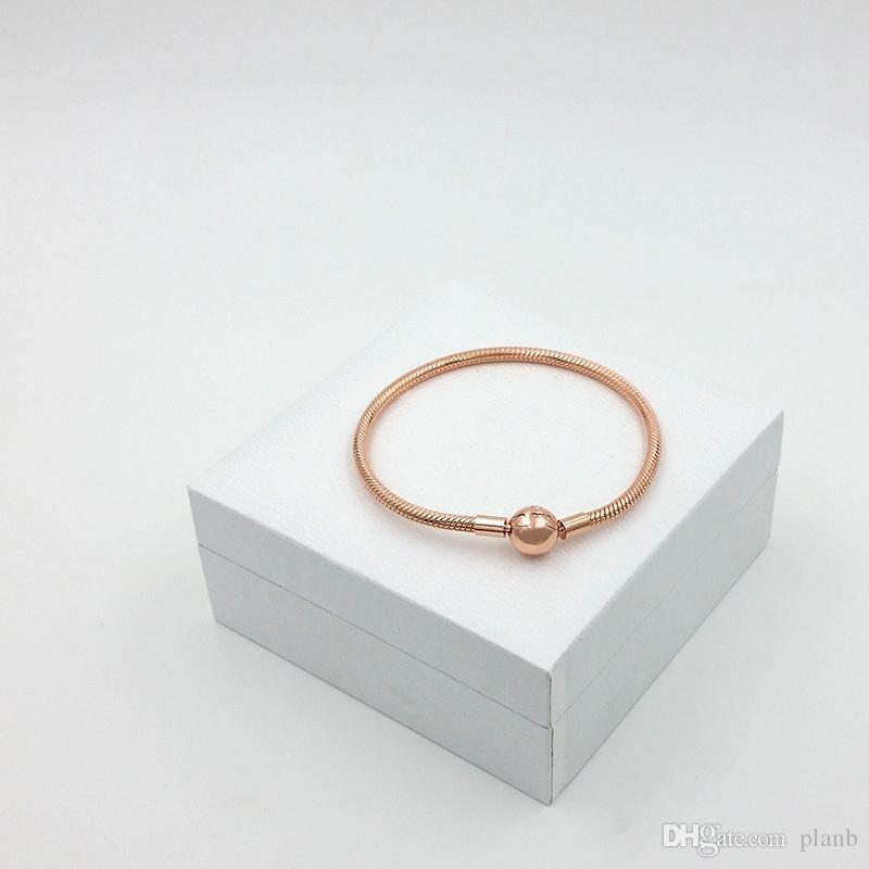 Mulheres bonitas 18 K Rose Gold 3mm Cadeia Cobra Pulseira Fit Pandora Encantos de Prata Europeu Beads Pulseira DIY Fazer Jóias