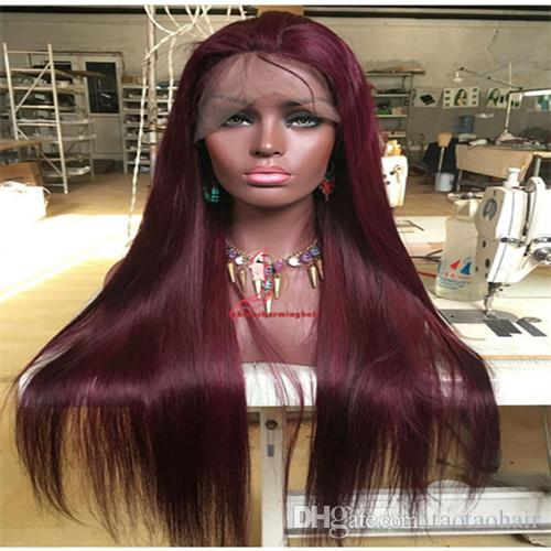 For Black Women #99J Wine Red Full Lace Human Hair Wigs Straight Peruvian Burgundy Hair Glueless Lace Front Wigs Free Part 130% Density