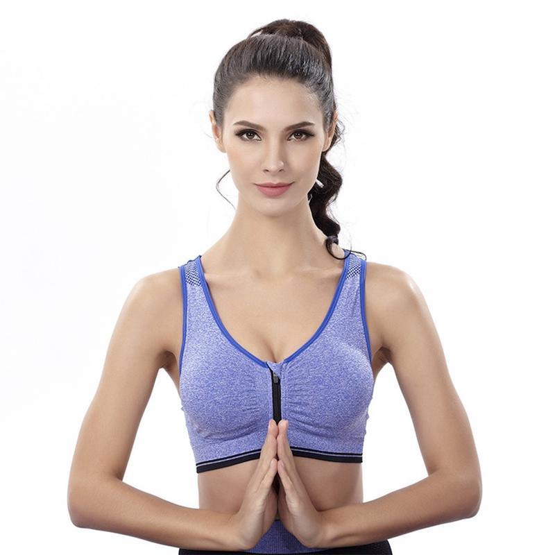 99500bf035 Women Slim Fitness Yoga Running Gym Sport Bra for Women Front Zipper  Breathable Shockproof Sportswear Vest Sports Bra Yoga Bra Sports Bra  Running Bra Online ...