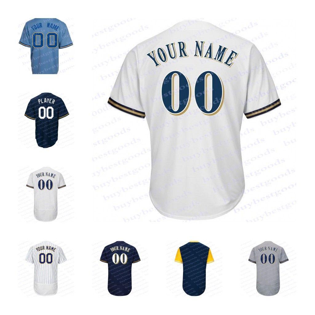 3de480e6850 Mens Custom Milwaukee Jerseys Milwaukee Customized White Stripe Navy ...
