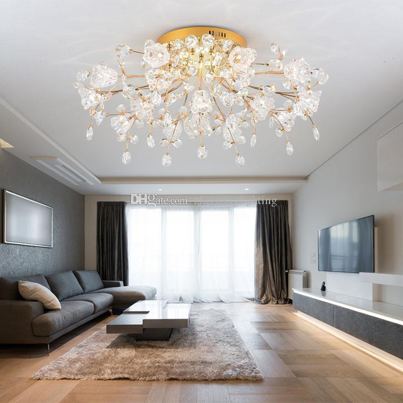 acheter lampe de salon moderne en cristal au plafond lumi res chaude romantique fleur de mariage. Black Bedroom Furniture Sets. Home Design Ideas