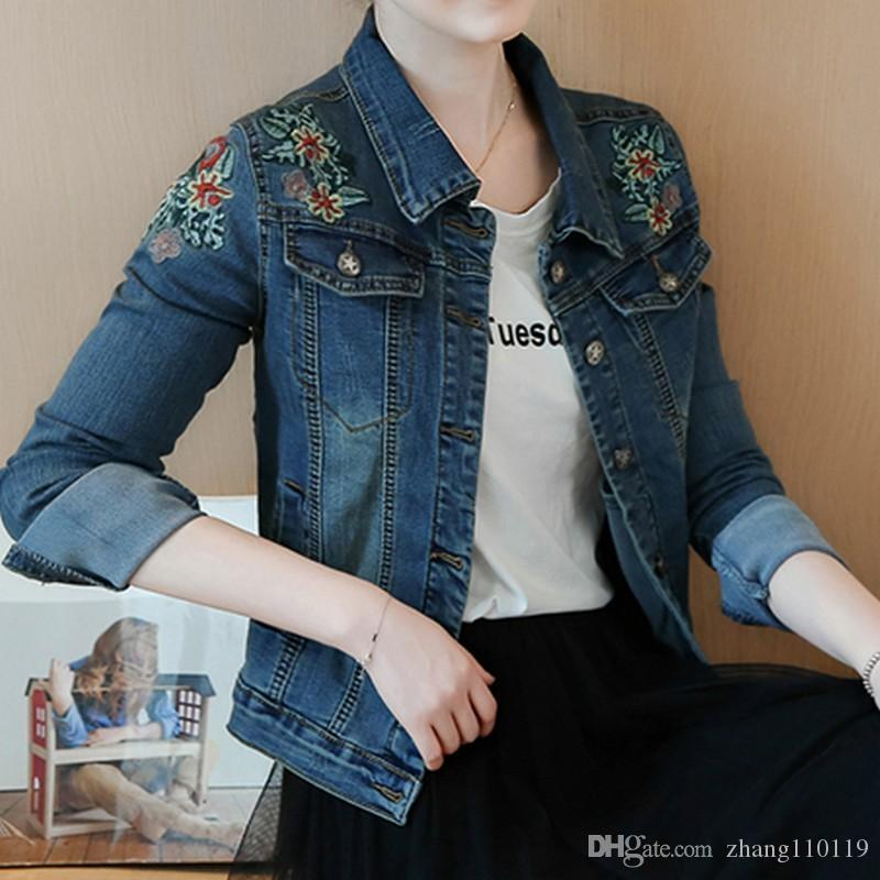 48b342bb4c9 New Arrival Vintage Embroidery Floral Winter Female Denim Jacket Plus Size  Bomber Jackets Women Kpop Slim Short Coat 2018 Jequeta Jacket Sale Biker  Leather ...
