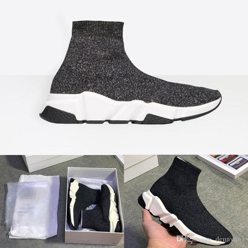 f3c0432ac437 2018 New Speed Trainers Black Knit Sock Sneakers Women Men Sports Running  Shoes Best Running Shoe Neutral Running Shoes From Dennyno1