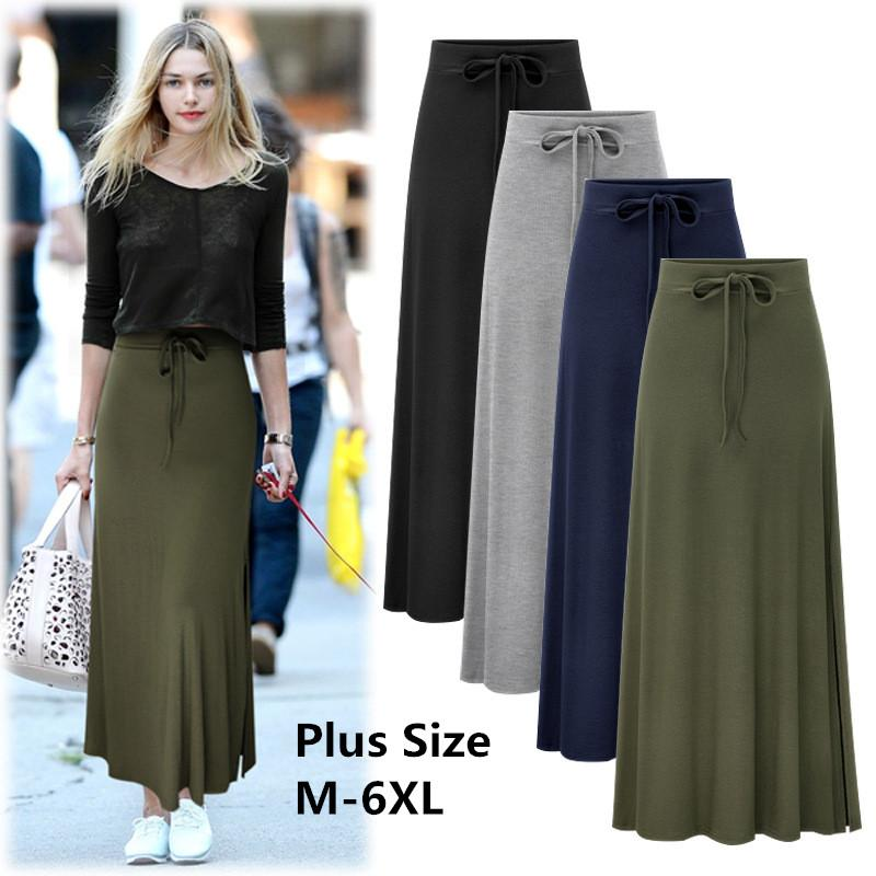 6b4618bcd39 2019 Plus Size 2018 Streetwear Women High Waist Bodycon Maxi Skirt Knitting  Long Bandage Skirts Faldas Mujer Saia Feminina Jupe Femme From Zhusa