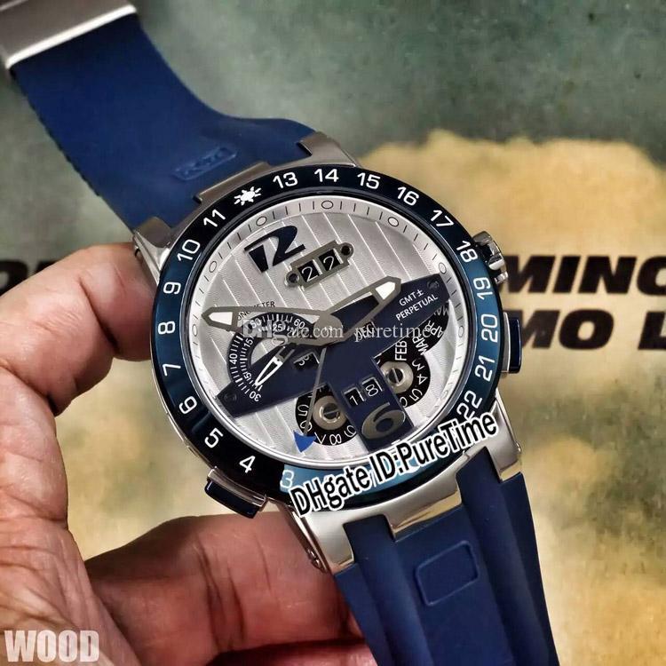 2018 Nuevo Executive El Toro / Black Toro Calendario perpetuo GMT 20-00 / BQ Caja de acero Blue Dial Blue Rubber Reloj automático para hombre UN-18a1