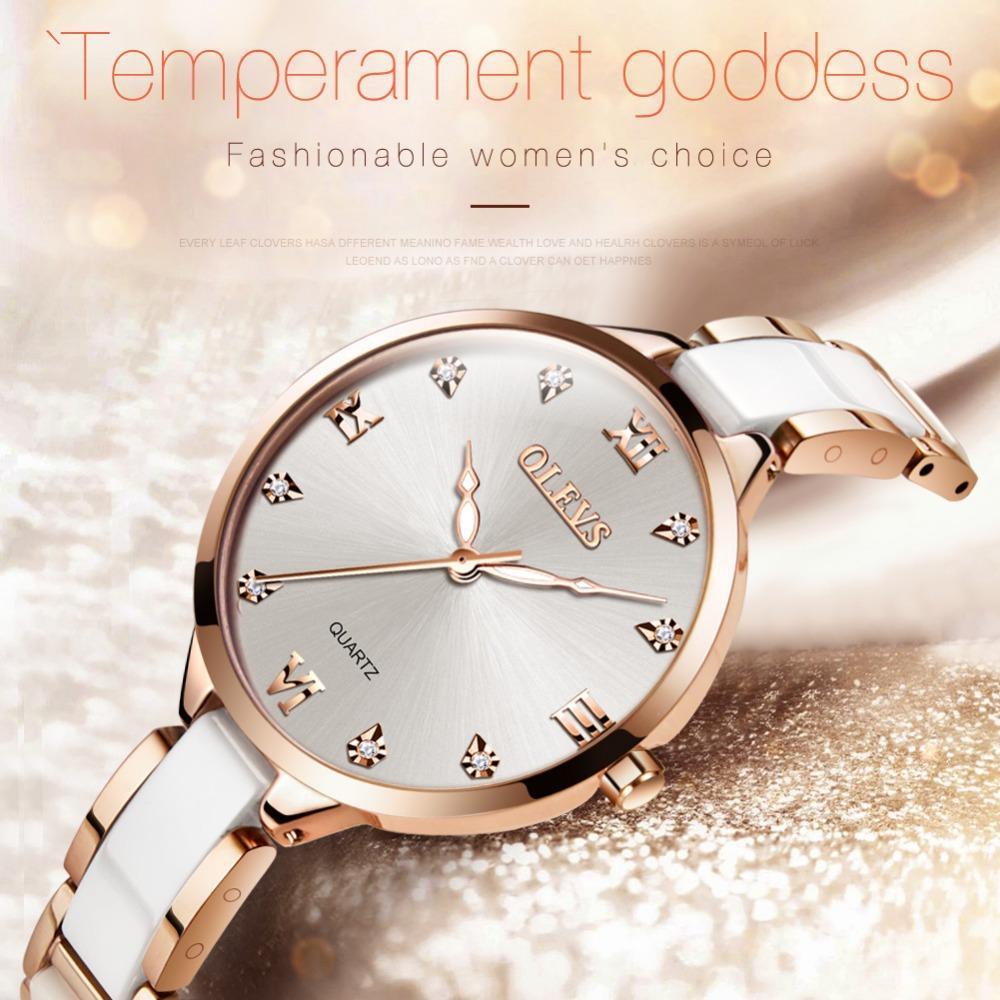 aff4ce2e1834 Compre OLEVS Reloj De Cerámica De Lujo Para Mujer Relojes Cuarzo Romano  Superficie Dial Reloj Para Mujer Impermeable Oro Rosa Muñeca De Acero  Inoxidable A ...