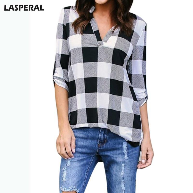 cd4e6032 2019 20187 LASPERAL Sexy Veck Blusas Plus Size Long Sleeve Plaid Blouses  Shirt Shirts Women Spring Cotton Shirt Casual Office Lady Tops From  Huang02, ...