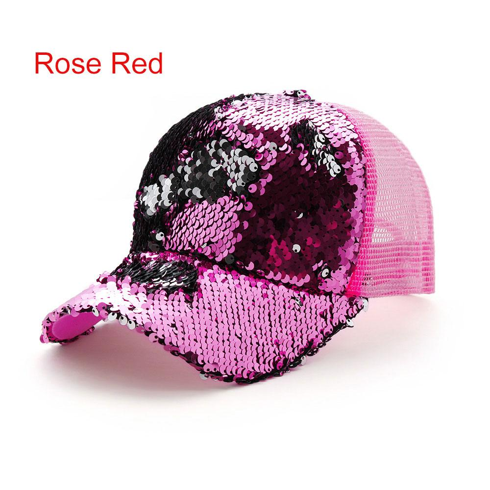 d4dad7786387c Summer Adjustable Rose Red Shiny Sequins Mesh Sun Cap Woman Ponytail  Baseball Cap Casual Visor Hat Fashion Snapback The Game Hats Baby Caps From  Duoyun