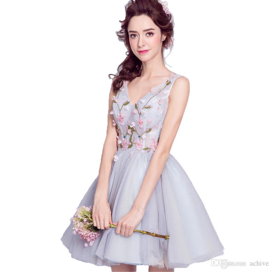 Elegant Real Beading Floral Short Prom Dresses 2018 V Neck Sleeveless Tulle Silver Homecoming Dresses