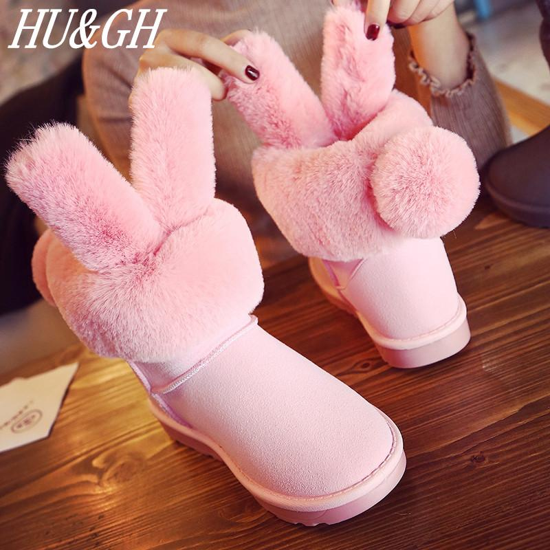 New Super Warm Winter Women S Boots Female Venonat Rabbit Ear Lovely Boots  Waterproof And Velvet With Thick Warm Cotton Shoes Knee High Boots Riding  Boots ... 3133fedab2f8