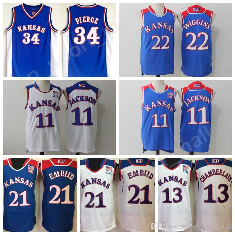 Kansas Jayhawks Jerseys College Basketball 34 Paul Pierce 22 Andrew Wiggins  21 Joel Embiid Jersey Men 11 Josh Jackson 13 Wilt Chamberlain Kansas  Jayhawks ... 84e71813f