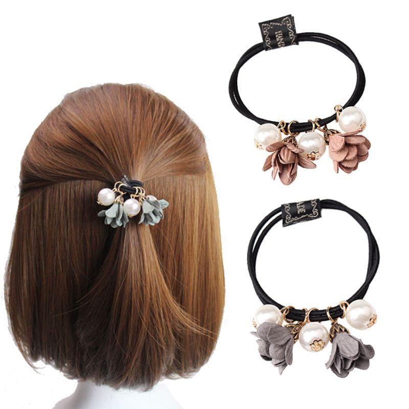 Großhandel Große Perle Blume Rubber Hairband Frauen Haarschmuck