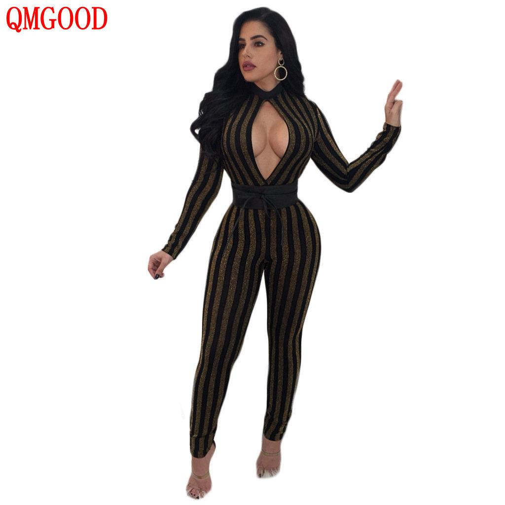 5919b2017b 2019 QMGOOD Ladies Fashion Striped Bodysuits Long Sleeves Slim Casual Sexy  Jumpsuit Women s Catsuit Openwork Chest Sexy Bodysuits From Cute08