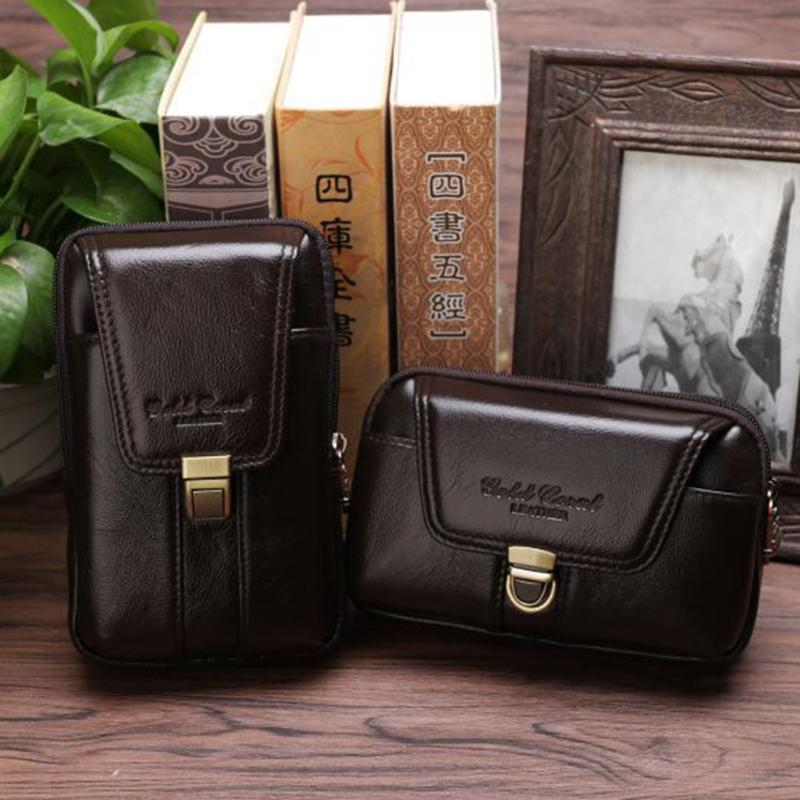 b8e96f0203a8 Genuine Leather Men Hip Bum Belt Purse Fanny Pack Pouch Cell Mobile ...