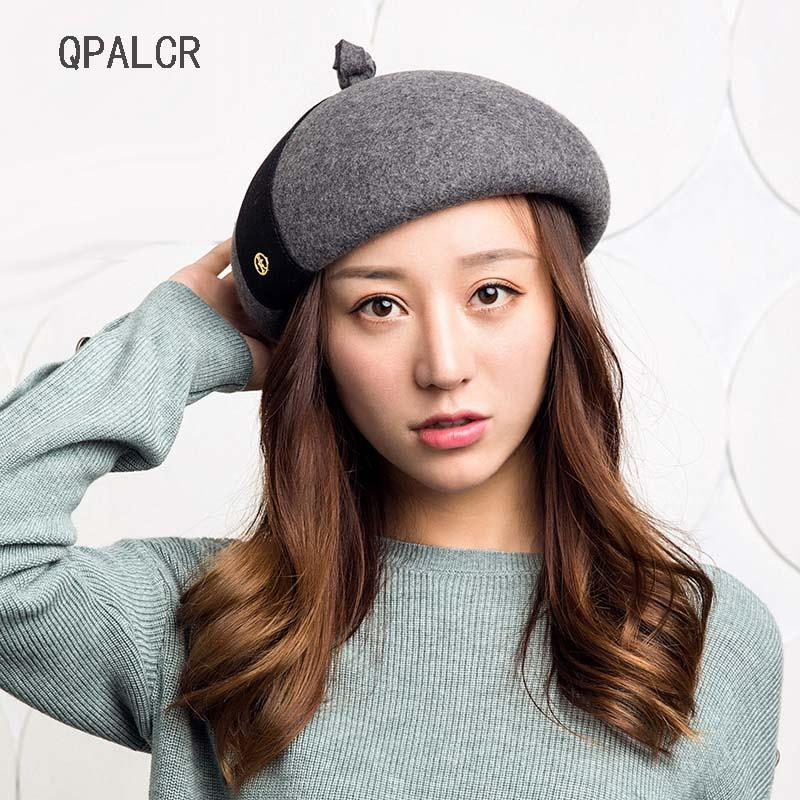 0175b7648f8db7 2019 QPALCR Fall Winter Berets Wool Fedora Hats For Women Fascinators Sweet  Lovely Painter Hat Ladies Vintage Patchwork Felt Cap From Oldnavy, ...