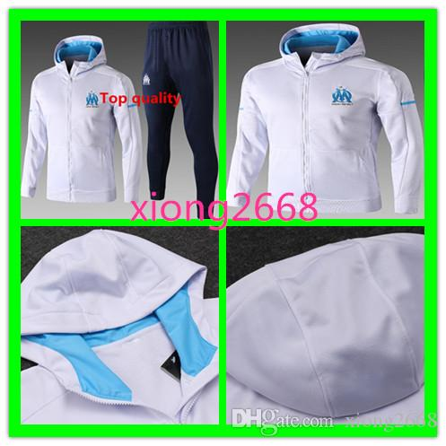 Top Qualität Olympique Marseille Trainingsanzug Jacke mit Hut Top Qualität 2017 2018 GOMIS CABELLA PAYET SANSON 17 Trainingsjacke Kit