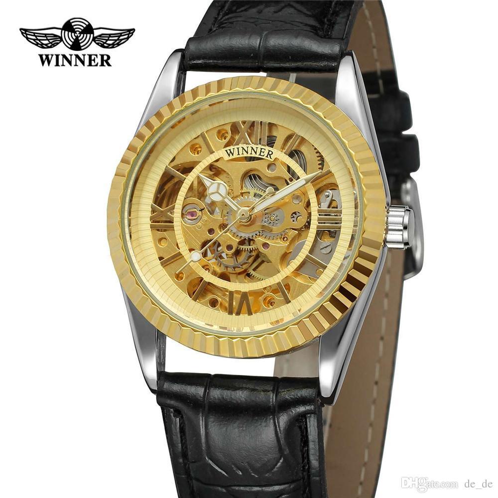 d5991cb43a1 Compre VENCEDOR Mulheres Relógio Mecânico Automático Senhora Relógios Top  Marca De Luxo Clássico Moda Banda De Couro Esqueleto Feminino Relógio 0404  De ...