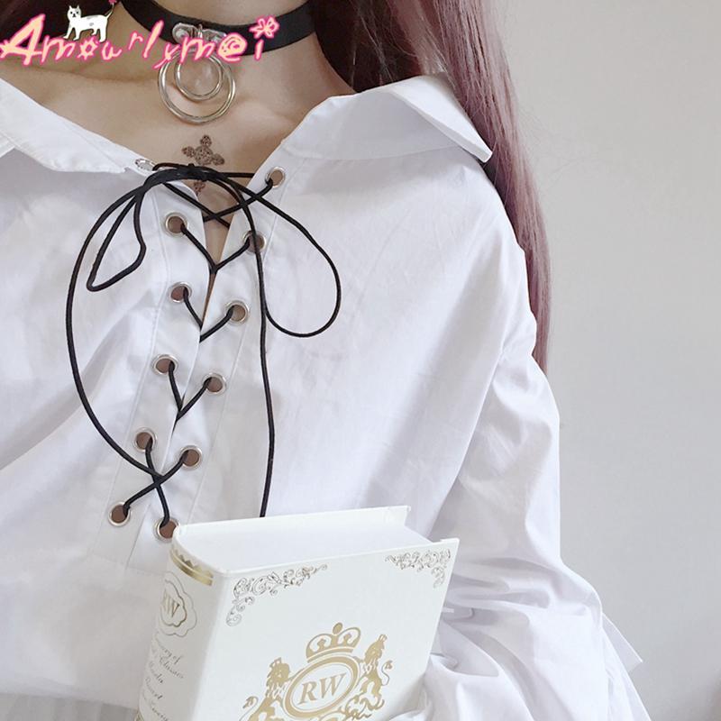 Compre Blusas Camisas Kawaii Lolita Camisa Blusa De Mujer Bajar El Cuello  Con Cordones Manga De Mariposa Volantes Camisa Blanca Lindo Estilo Japonés  Mori A ... 62dc15beee93d