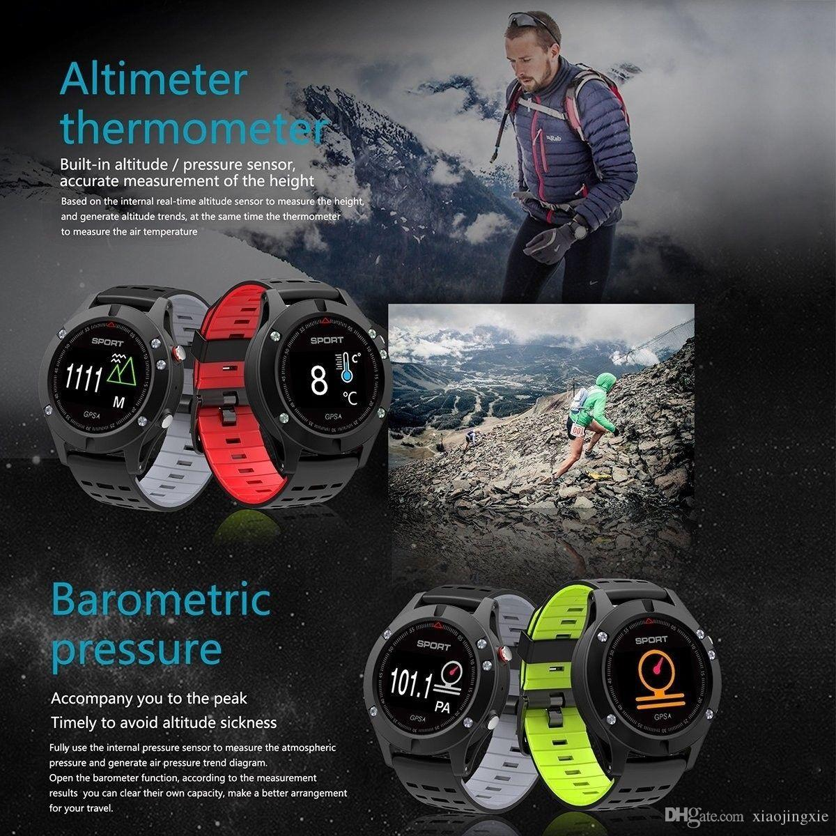 No.1 F5 Smart Watch GPS Bluetooth 4.2 IP67 Outdoors Activity Fitness Tracker Altimeter Thermometer for IOS Android Phone Free Strap