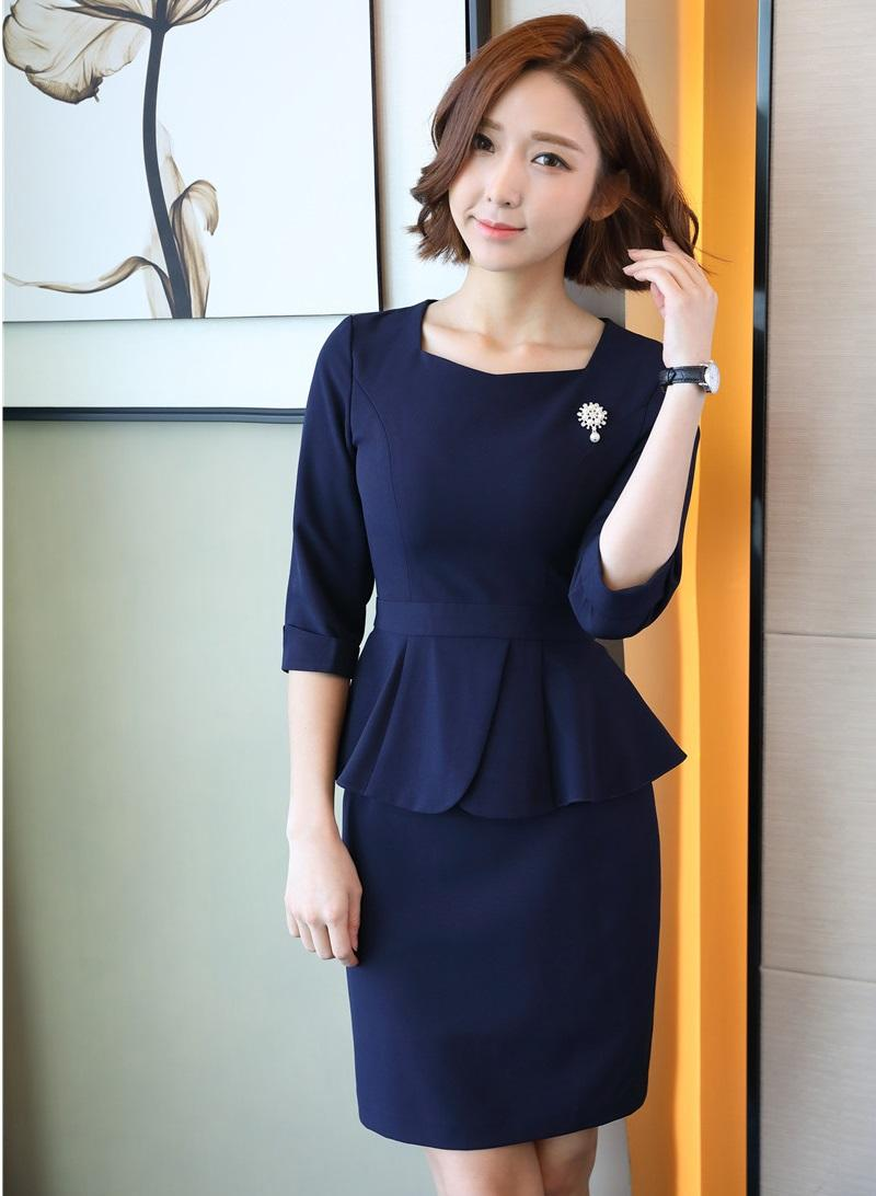 4e064de425d 2019 Formal Two Piece Sets Women Business Suits With Skirt And Top Sets  Ladies Office Suits Work Wear Uniforms OL Styles From Benedica