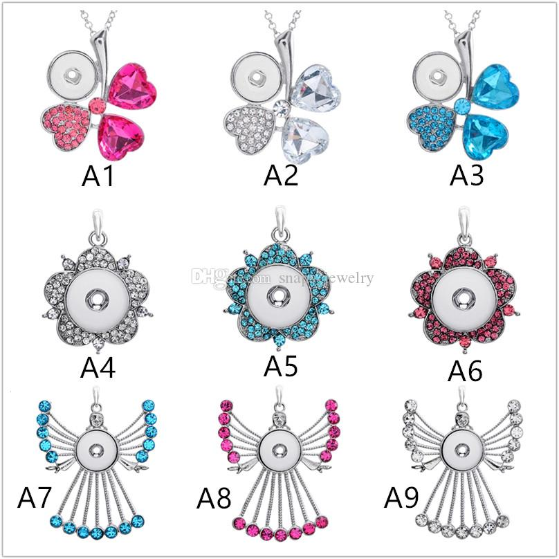 26 Style Noosa Chunks Ginger Snap Button Jewelry wings of an angel Charm 18mm Snap Button Key Necklace For Women