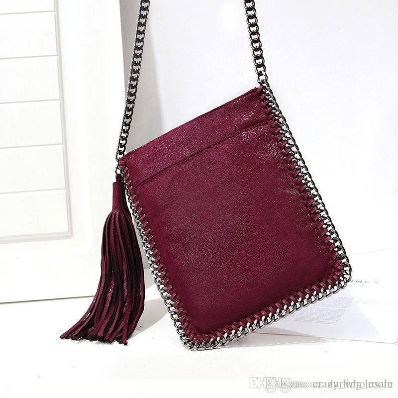 17d63c1237 Top Brand Long Tassel Crossbody Bag For Women Messenger Bag Braided Chain  Shoulder Bag Small Ladies Phone Bags Girl Handbags Burgundy Leather  Briefcase ...