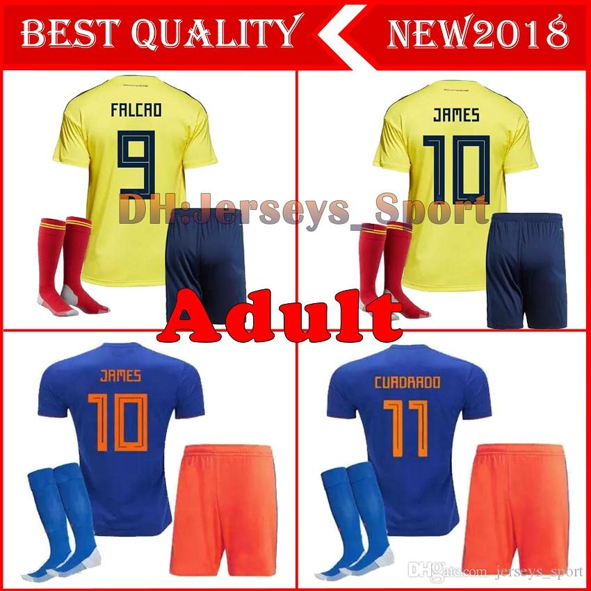 e985d068b51 2019 Adults 2018 World Cup Colombia Soccer Sets Rodriguez James Falcao  Cuadrado TEO BACCA SANCHEZ Home Away Kit Colombia Jersey Football Uniform  From ...